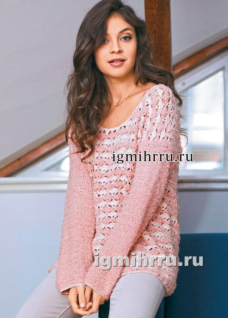Пуловер пастельных тонов, с двухцветным веерным узором. Вязание крючком