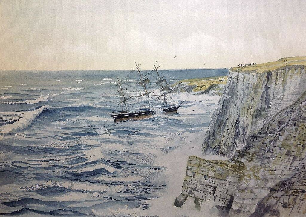 Death of a Windjammer.watercolour based on Flamburgh Head.