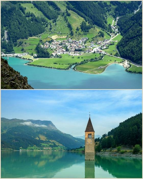 Озеро Решензее, расположенное в Южном Тироле на севере Италии знаменито благодаря затопленной церков