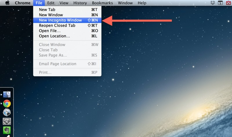 2. Если открыть браузер в режиме инкогнито, это гарантирует полную анонимность. Если вы пользуетесь