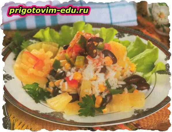 Салат с рисом и фасолью