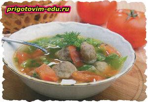 Суп с фрикадельками и капустой