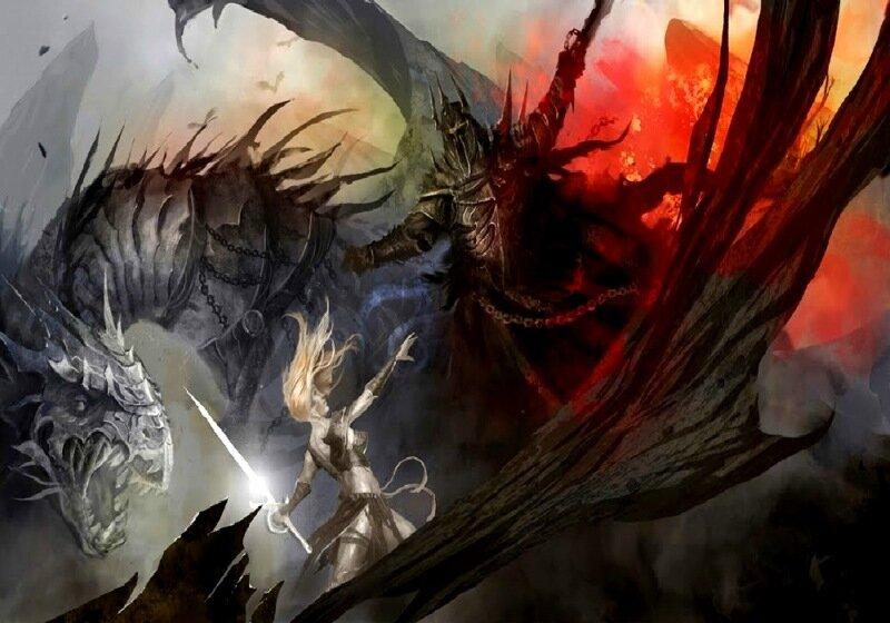 Современные цифровые рисунки на тему «женщины-воины»