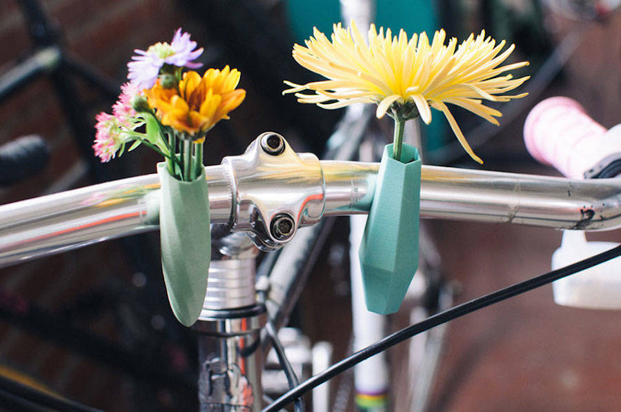 Cute 3D-Printed Flower Planters for Bicycles