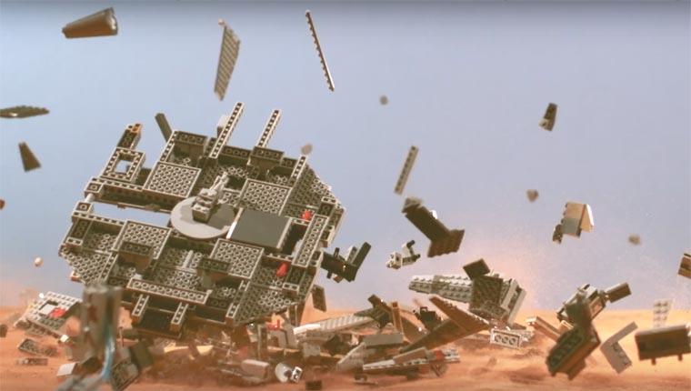 The crash of a LEGO Millennium Falcon