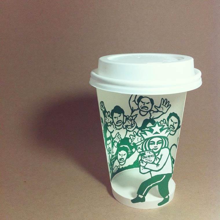 Starbucks Art – Les excellents gobelets Starbucks detournes de Soo Min Kim