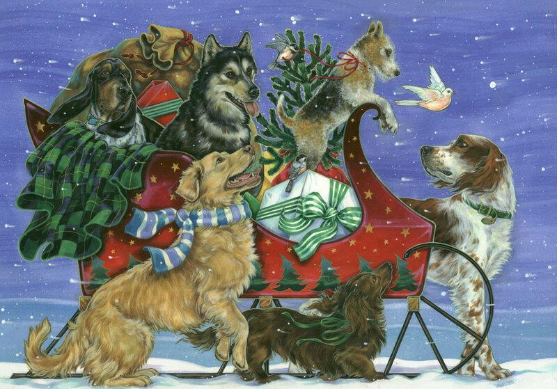 Новогодние открытки и животные