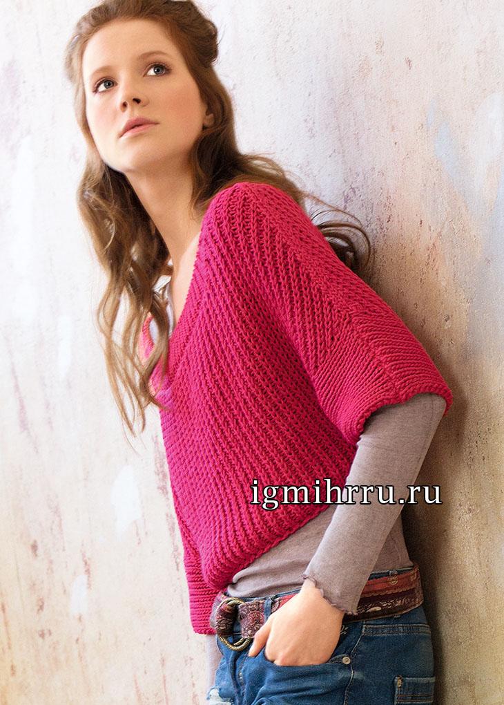 Короткий розовый пуловер с полупатентным узором. Вязание спицами