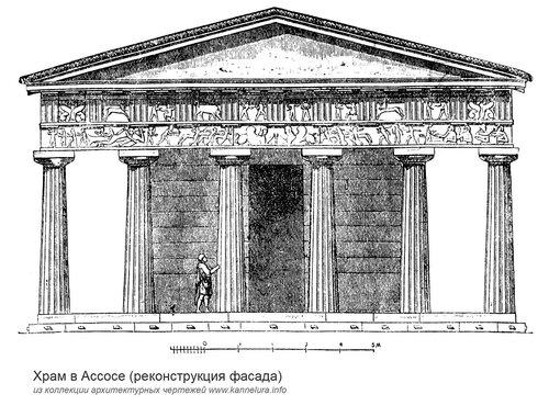 Храм в Асоссе, реконструкция фасада
