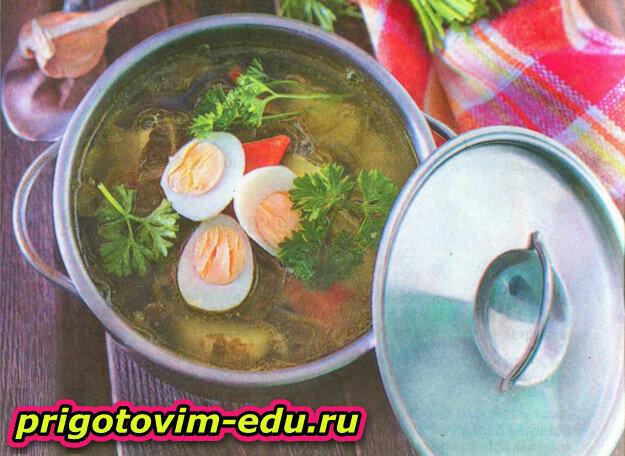 Супчик весенний со шпинатом и яйцом