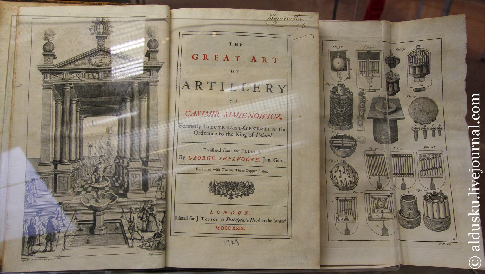 Simienowicz Casimir. The Great art of artillery. London. 1729
