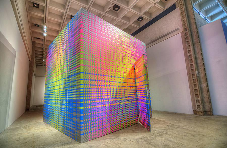 Immersive Vibrant Rainbow Cube Installation