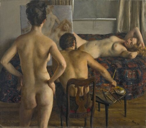 John Koch Two Models and the Artist at Studio