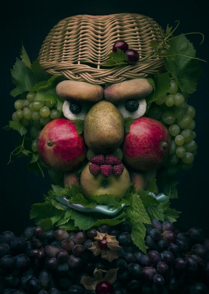 Польская художница создаёт причудливые портреты в стиле Арчимбольдо из настоящих овощей и фруктов