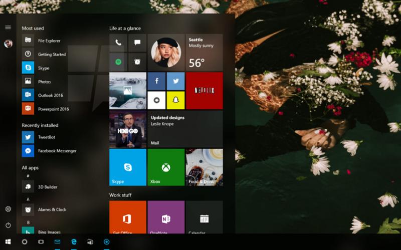 Враспоряжении СМИ оказался снимок экрана улучшенного меню «Пуск» для Windows 10