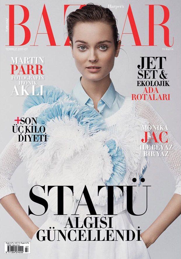 Supermodel Monika Jac Jagaciak stars in Harper's Bazaar Turkey 's July 2017 cover story captur