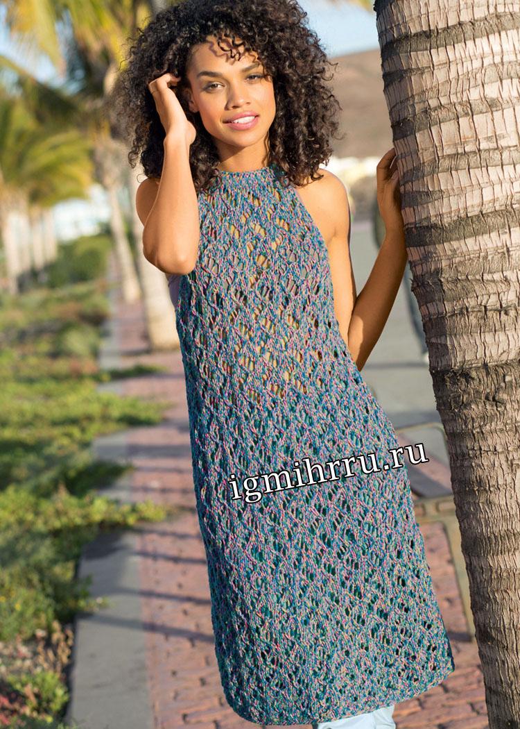 Ажурное летнее платье с американской проймой. Вязание спицами