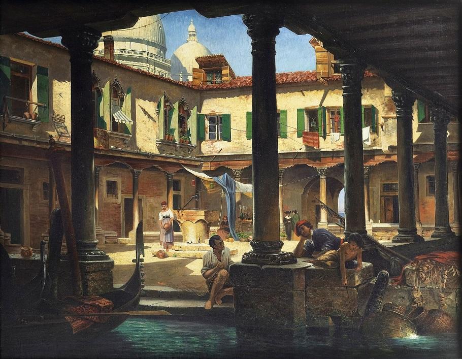 'Personnages dans la cour de San Gregorio à Venise'
