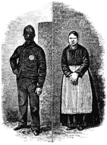 Арестант Пентонвилла и арестантка Миллбэнка. Рисунок из книги Генри Мэйхью Криминальные тюрьмы Лондона и сцены тюремной жизни, 1862.jpg