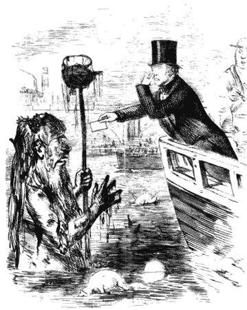 Майкл Фарадей вручает свою визитку Грязнуле Темзе. Карикатура из журнала Панч, 1855.jpg