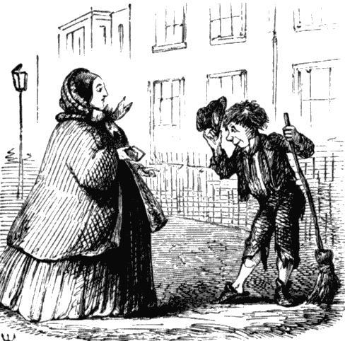 Мальчик - подметальщик перекрестков. Рисунок из журнала Панч, 1853.jpg