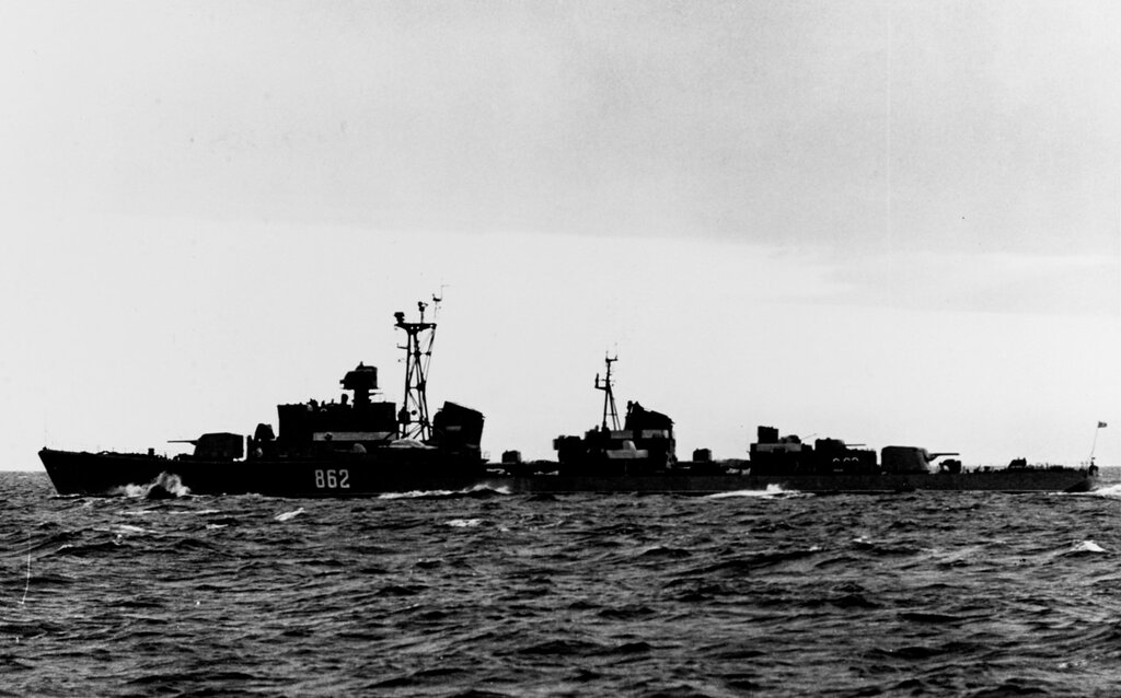 Soviet SKORYY Class Destroyer, photographed during late 1961 in the Baltic Sea, note the modified foremast with additional bracing added for the radar platform.