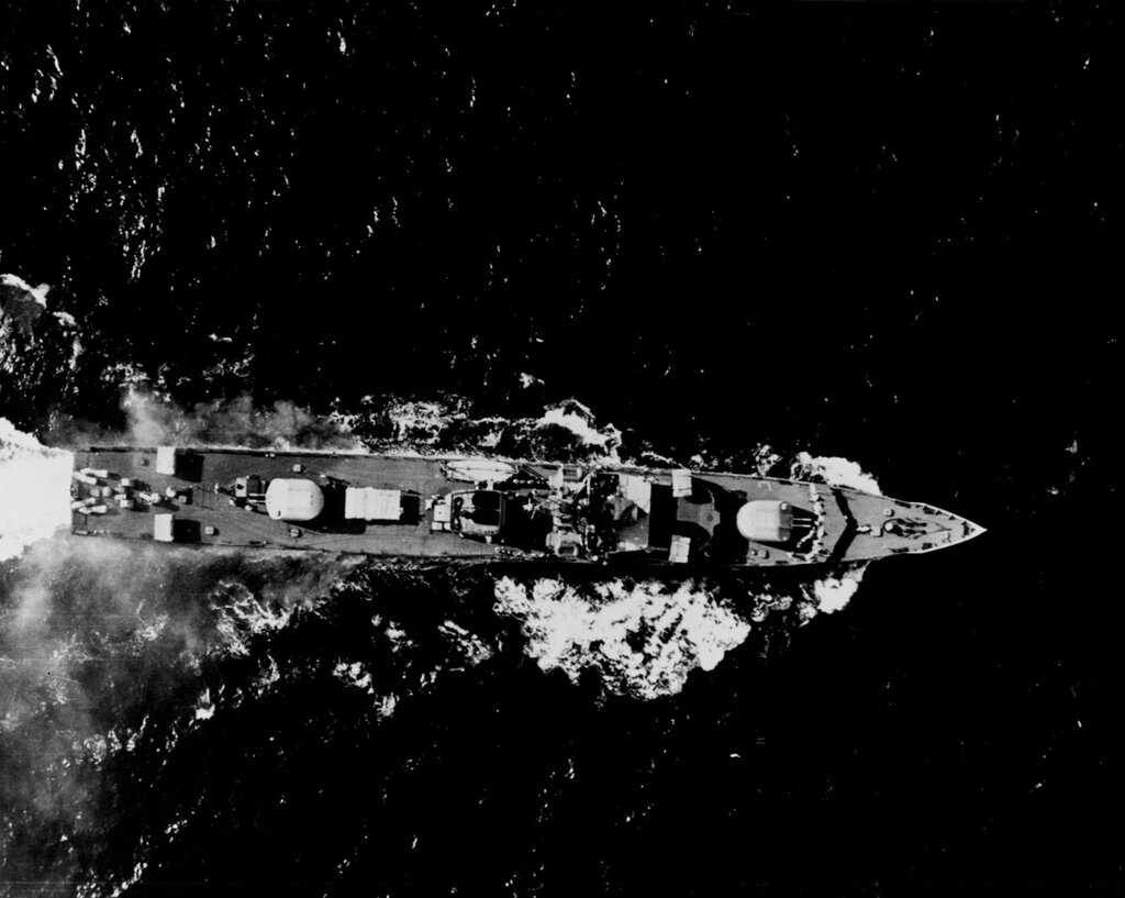 Aerial overhead view of a Soviet PETYA Class Ocean Escort, photographed at 0940 hours Zulu time 3 September 1963 in the Kattegat Strait. The ship was wearing pennant number 139 at the time of this photography.
