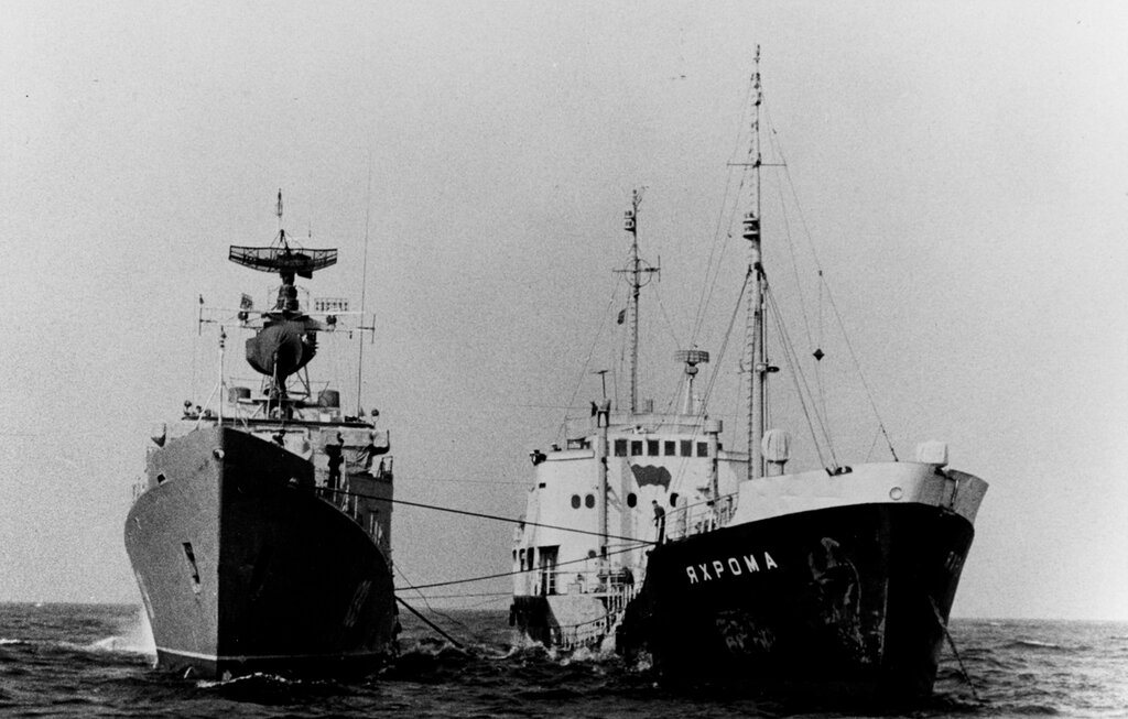 Soviet PETYA Class Ocean Escort photographed refueling from the merchant tanker JAKHROMA in the Baltic during 1963.