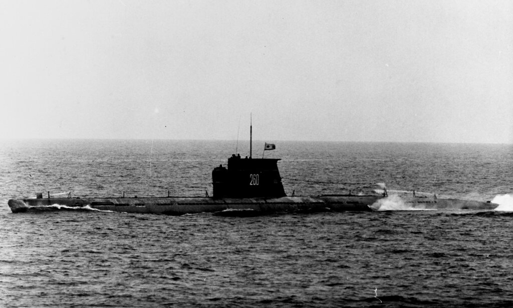 Soviet Zulu class diesel attack submarine (SS), photographed during 1966.