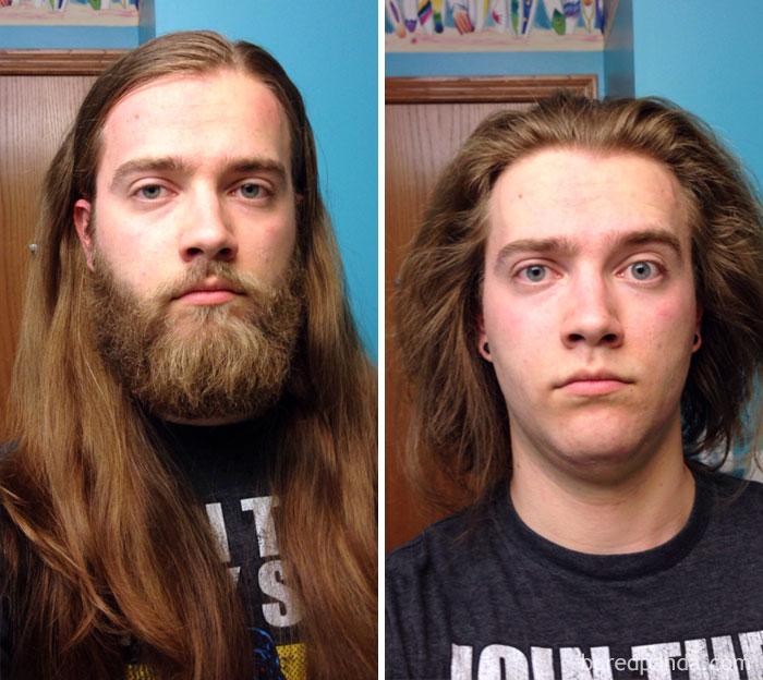 А этот парень пожертвовал 25 сантиметров волос организации Locks Of Love, которая предоставляет их д