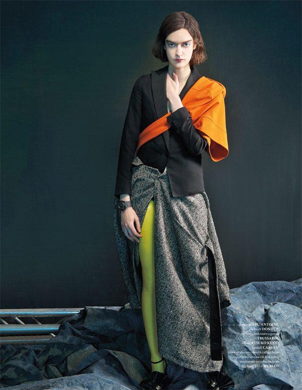 The striking  Celine Delaugere  ( IMG Models ) stars in Contessa Di Monza story captu