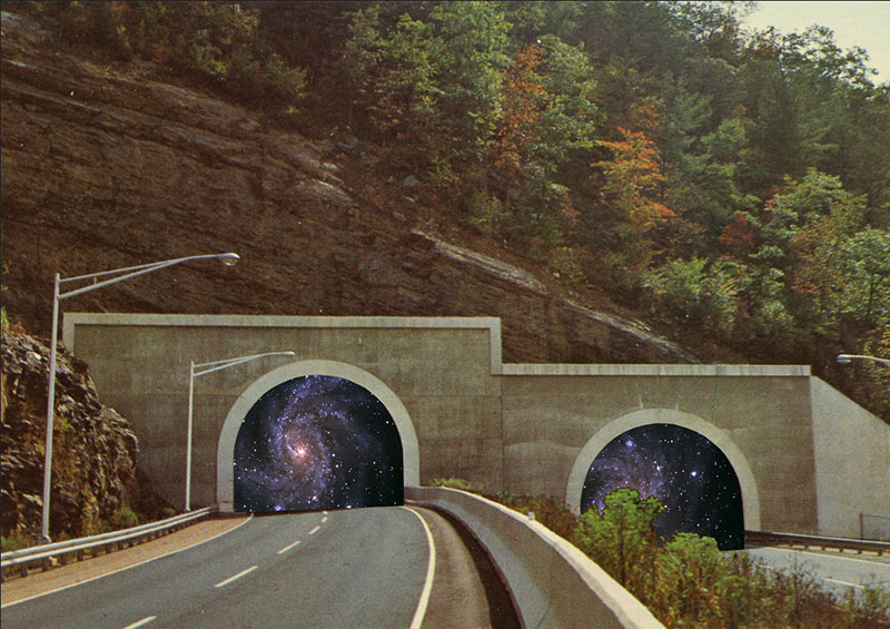Vintage Collages of Cosmic Tunnels by Steven Quinn