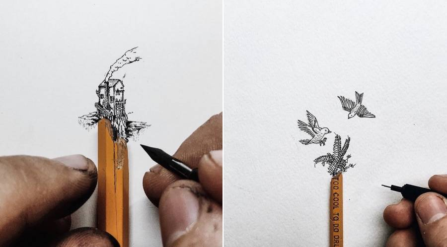 Tiny Illustrations That Get Out of Pencil Tips (12 pics)