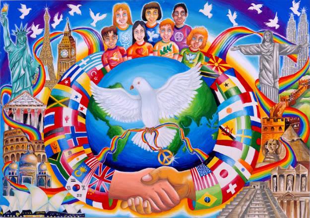 21 сентября — Международный день мира. Голубь на фоне флагов