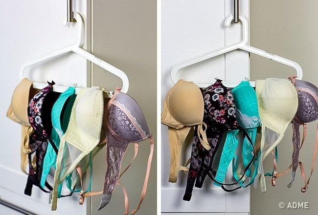 Отличный способ организовать хранение бюстгальтеров— просто повесить ихнаобычную вешалку для одеж