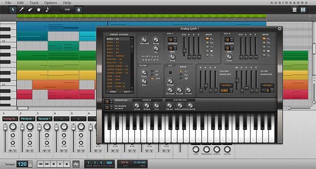 © audiosauna.com  Виртуальная студия для создания музыки. Есть клавишный синтезатор, куча наст