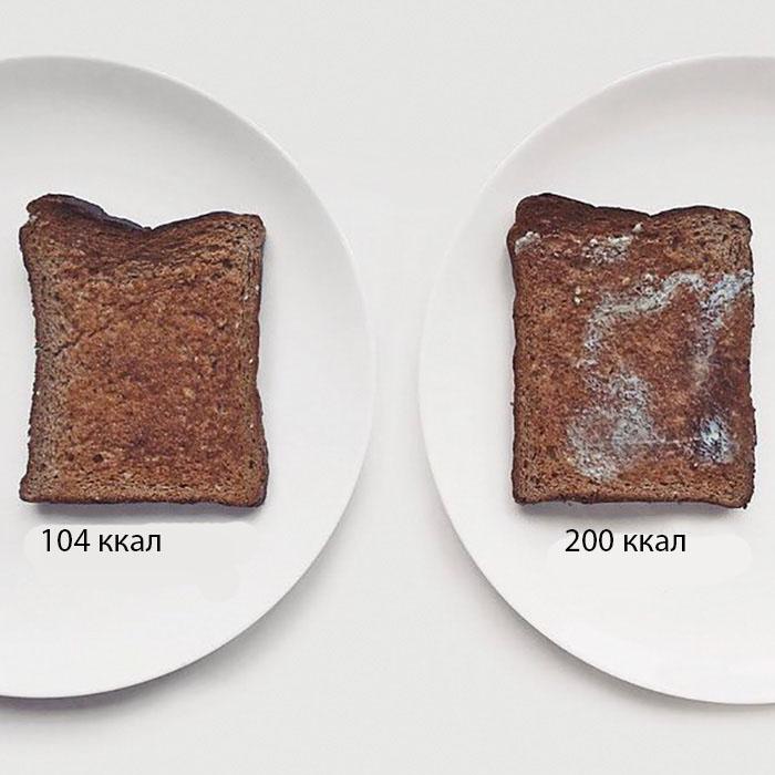 Тост с маслом — калорийность зависит от количества намазанного масла.