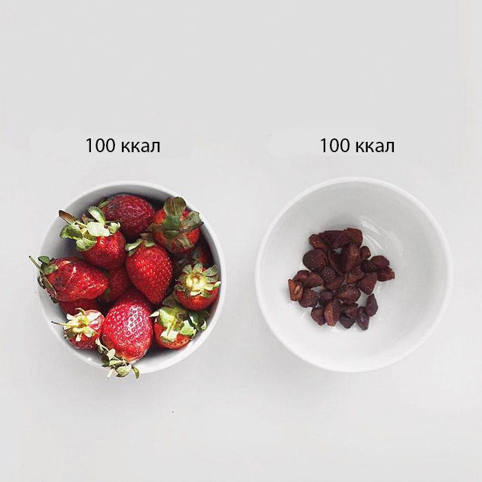 Калорийность одинакова, а ведь куда вкуснее наслаждаться свежей клубникой.