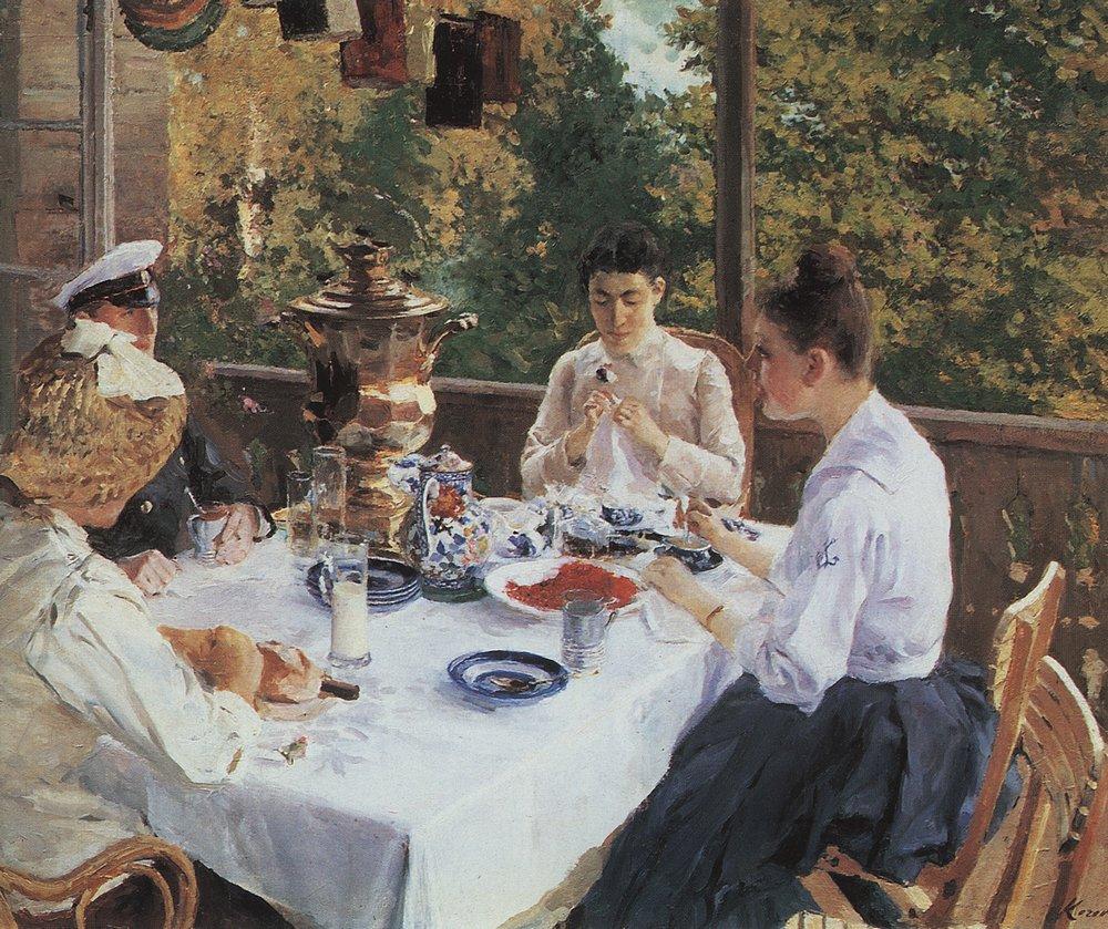 04-Константин Коровин. За чайным столом. 1888