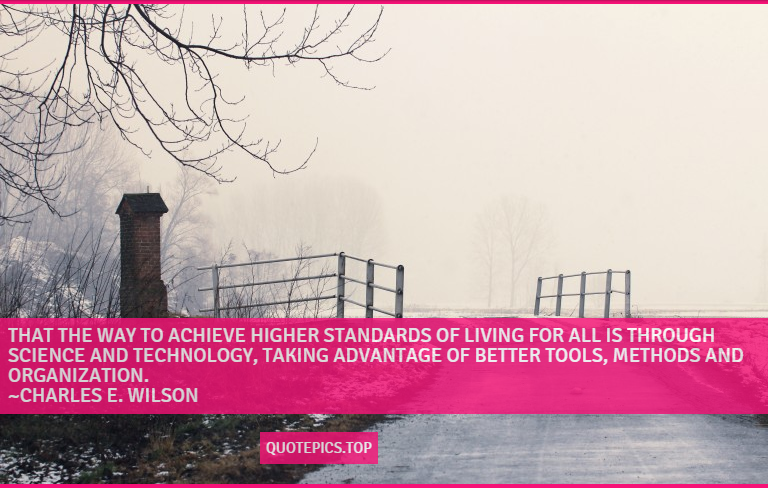 That the way to achieve higher standards of living for all is through science and technology, taking advantage of better tools, methods and organization. ~Charles E. Wilson