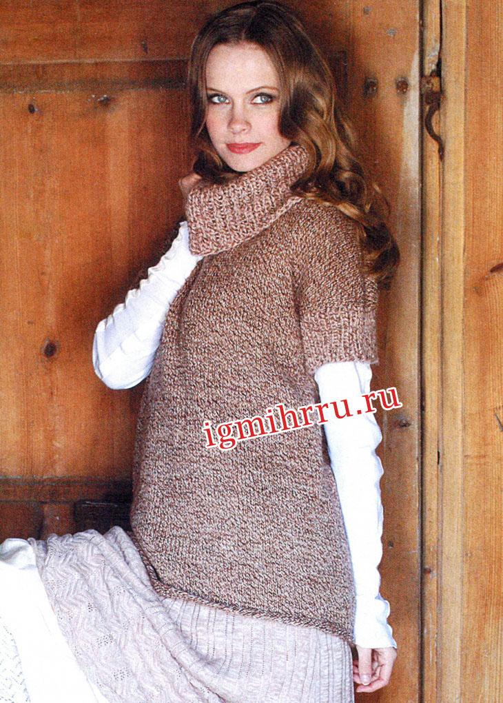 Бежево-пестрый свитер с широким воротником. Вязание спицами