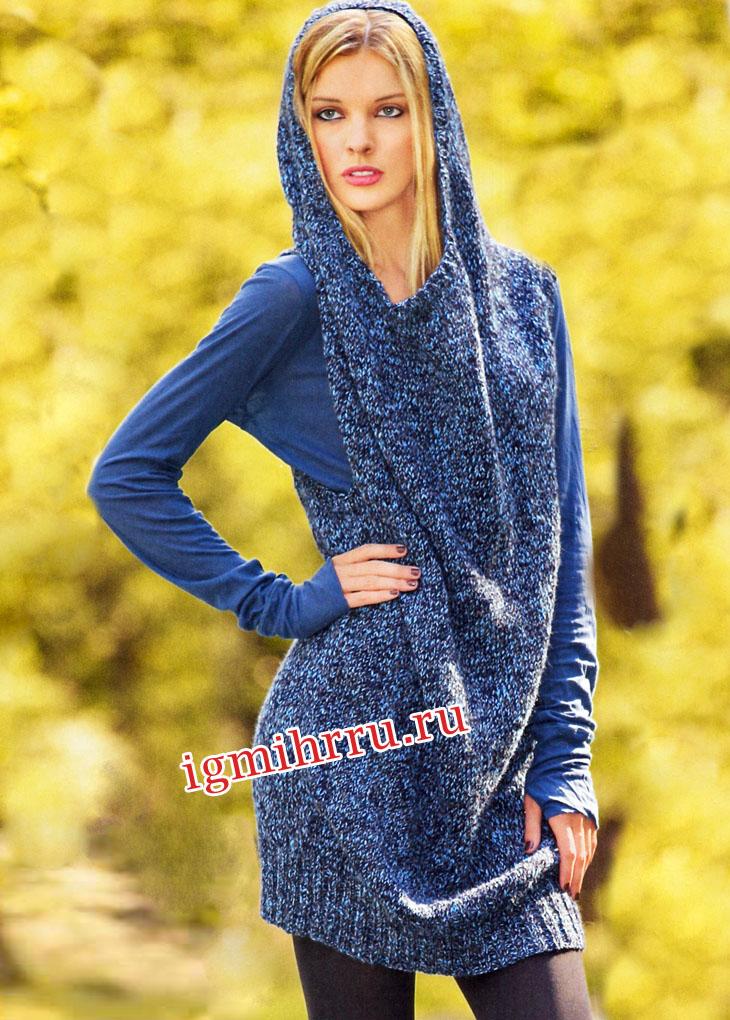 Платье с капюшоном вязание