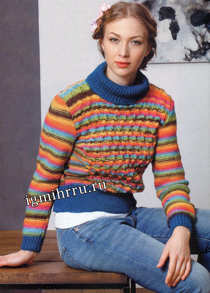 Шерстяной свитер в разноцветную полоску. Вязание спицами