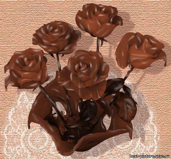 Открытки. С днем шоколада! Букет шоколадных роз