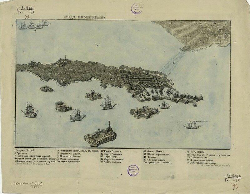 Вид Кронштадта. Аксонометрический план. 1855 год.