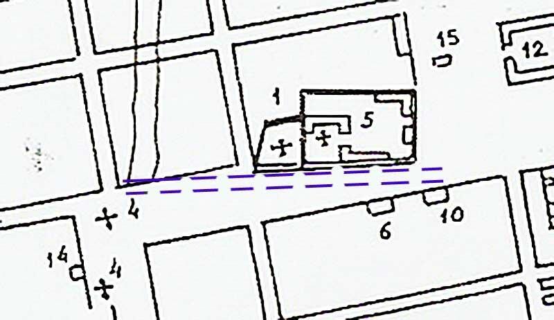 Белгород, План реконструкции Белгорода нач. XIX в. Пунктиром обозначено прежнее расположение Соборной улицы. http://sanchess-city31.livejournal.com/