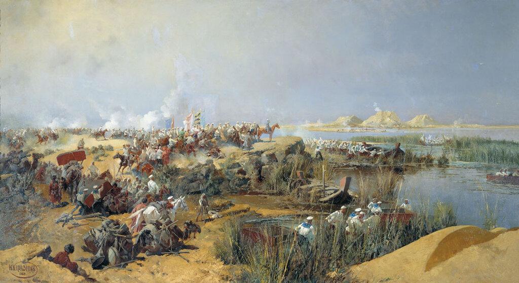 Николай Николаевич Каразин. Переправа туркестанского отряда через Аму-Дарью 1873 года. 1889