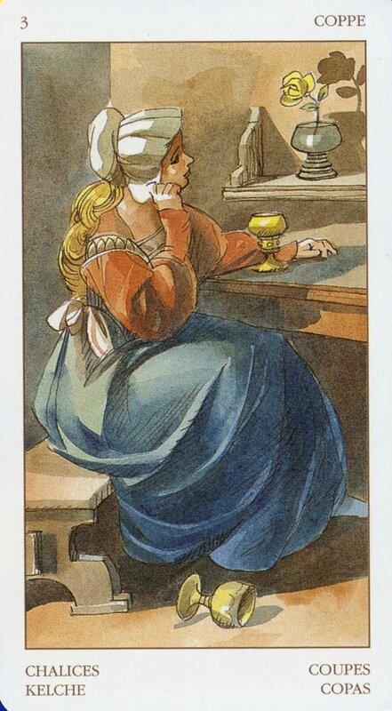 На деревянной скамейке за столом сидит мечтательная девушка и смотрит на позолоченный кубок.  Другой кубок валяется у...