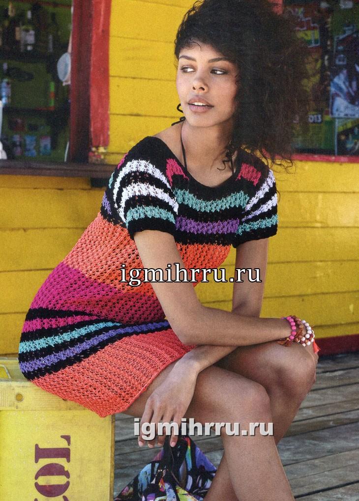 Летнее платье с разноцветными полосками. Вязание спицами