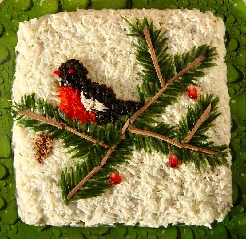 """Красивое угощение Новогоднего стола! Салат """"Снегирь на ветке"""""""